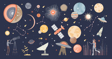 Cosmos Collection Set And Space With Stars And Galaxies Tiny Person Concept. Astronomy And Astrology Theme Items List With Planets, Earth, Universe And Sky Research Spaceships Vector Illustration.