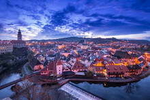 Evening View Of Cesky Krumlov From High Point