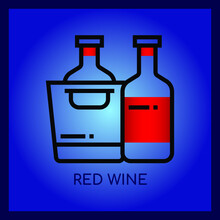 Red Wine,Thin Line And Pixel Perfect Icon.