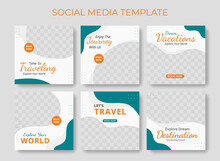 Editable Template Post For Social Media Ad. Instagram Template Post. Web Banner Ads For Travel Promotion .design With Blue And Orange Color.