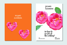 Floral Wedding Invitation Card Template Design, Camellia Flowers With Leaves