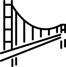 Golden Gate Bridge Minimal Line Icon