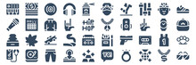 Set Of 40 Hip Hop Web Icons In Glyph Style Such As Smartphone, Hip Hop, Microphone, Headphones, Necklace, Sunglasses. Vector Illustration.