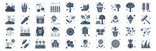 Set Of 40 Spring Web Icons In Glyph Style Such As Plant, Good Weather, Growing, Fence, Gardening, Grass Leaves. Vector Illustration.