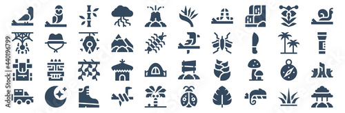 Fototapeta set of 40 jungle web icons in glyph style such as jeep, backpack, spider, thunderstorm, parrot, tree
