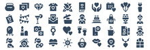 Set Of 40 Mothers Day Web Icons In Glyph Style Such As Pregnant, Mirror, Greeting Card, T Shirt, Mother, Mothers Day. Vector Illustration.