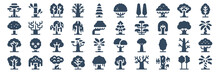 Set Of 40 Trees Web Icons In Glyph Style Such As Tree, Tree, Tree, Vector Illustration.