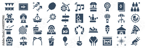 Canvas set of 40 fair web icons in glyph style such as popcorn, magic, teddy bear, cotton candy, claw, cannon