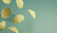Minimal Idea Floating Yellow Umbrella On Front And Top View. Classic Accessory For Rain Protection In Spring, Autumn Or Monsoon Season, Copy Space For Your Text. 3d Rendering