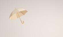Minimal Idea Floating Beige Umbrella On Front And Top View. Classic Accessory For Rain Protection In Spring, Autumn Or Monsoon Season, Copy Space For Your Text. 3d Rendering