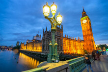 Big Ben Close Up View At Dusk In London. England