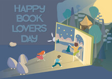 Children Love Reading - Vector Illustration . Happy Book Lovers Day Text.