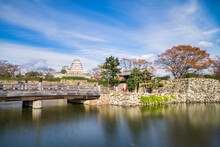 Entrance To Himeji Park With Castle Seen In The Background. Himeji Castle Is A UNESCO World Heritage Site