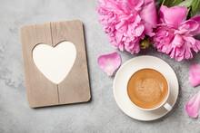 Hot Coffee, Peony Flowers And Heart Shaped Frame