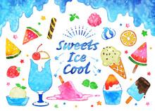 水彩風のアイス、冷たいスイーツ、ベクターイラストセット