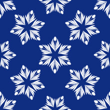 Seamless Pattern With A Pattern Of The Silhouette Of Tulips And Leaves. Design In Blue For Printing, Packaging, Fabric. Damascus Styling. Vector