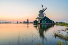 Old Dutch Windmill At Sunset In Zaanse Schans