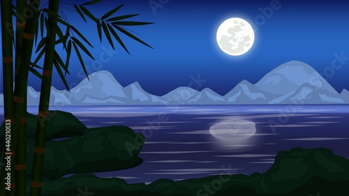 Fotografie, Obraz Landscape moonlit night vector illustration with river , bamboo tree, mountain, rock and full moon