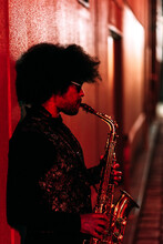 African Afro Street Musician Plays The Saxophone On The Street In Melbourne