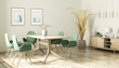Leinwandbild Motiv Interior design of modern dining room, wooden table and gree chairs 3d rendering