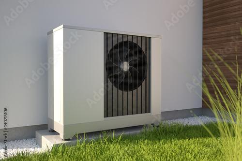 Carta da parati Air heat pump beside house, 3D illustration
