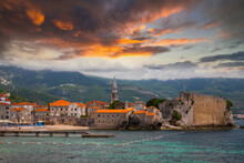 Old Town In Budva In A Beautiful Summer Sunset, Montenegro.