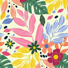 Hand Painted Abstract Leaves Pattern Design_2