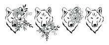 Wolves Floral Vector Illustration Set, Flower Animal