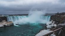 Beautiful Shot Of Niagara Falls Under A Cloudy Sky
