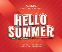 Hello Summer Text White Red With Wavy Effect Editable Text Effect