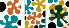 Collection Of Modern Abstract Art Illustrations. Form - Colored Blots (drops) On A Gray Background