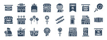 Set Of 24 Sweet And Candy Shop Web Icons In Glyph Style Such As Jar, Toffee, Shopping Basket, Lollipop, Shop, Candy Shop. Vector Illustration.