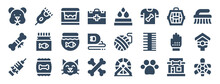 Set Of 24 Pet Shop Web Icons In Glyph Style Such As Pet Bed, Yarn Ball, Cat, Pawprint, Turtle, Grooming Glove. Vector Illustration.