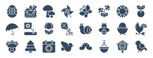 Set Of 24 Spring Web Icons In Glyph Style Such As Mushroom, Snail, Calendar, Hanging Pot, Bird, Chick. Vector Illustration.
