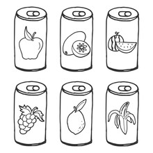 Sketch Of Beverage Can Illustration Isolated On White Background. Set Of Flavor Drink, Apple, Kiwi, Watermelon, Grape, Lemon And Banana Fruit. Hand Drawn Vector. Doodle Art For Logo, Brand, Advert.