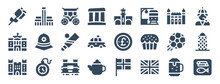 Set Of 24 England Web Icons In Glyph Style Such As Carriage, Pound, Tower Bridge, Union Jack, Fish And Chips, Football. Vector Illustration.