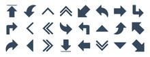 Set Of 24 Arrow Web Icons In Glyph Style Such As Upward Arrow, Turn Left, Fast Forward, Down Arrows, Down Right Arrow, Upward Vector Illustration.