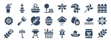 Set Of 24 Spring Web Icons In Glyph Style Such As Basket, Raining, Barbecue, Hat, Branch, Crop. Vector Illustration.