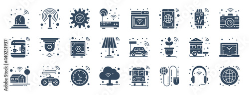 Fotografie, Obraz set of 24 internet of things web icons in glyph style such as setting, electric car, smart watch, internet, internet, smart home