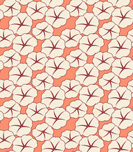 Japanese Morning Glory Flower Vector Seamless Pattern