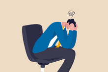 Regret On Business Mistake, Frustration Or Depressed, Stupidity Or Foolish Losing All Money, Stressed And Anxiety On Failure Concept, Frustrated Businessman Holding His Head Sitting Alone On The Chair