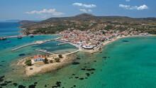 Aerial Drone Photo Of Picturesque Seaside Main Village Of Elafonisos Island, Lakonia, Peloponnese, Greece