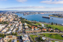 Newcastle Harbour- NSW Australia - Aerial View With Ship Entering Port