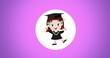 Leinwandbild Motiv Composition of cartoon schoolgirl in white circle on purple background