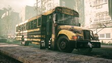 An Old Abandoned Rusty School Bus Stands In The Middle Of The Road In A Deserted City. The Image For Historical, Retro And Fiction Backgrounds. 3D Rendering. View Of The Apocalyptic City.