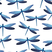 Dragonfly Girlish Seamless Pattern. Summer Dress Textile Print With Flying Adder Insects. Graphic