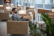 Business Lounge Zone With One Visitor In It