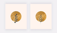 Botanical Wall Art Prints With Circle Golden Shapes And Black Leaves