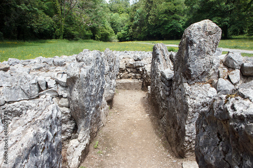 Slika na platnu Parc Cwm long cairn, also known as Parc le Breos burial chamber, is a partly restored Neolithic chambered tomb, identified in 1937 as a Severn-Cotswold type of chambered long barrow