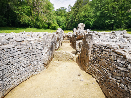 Parc Cwm long cairn, also known as Parc le Breos burial chamber, is a partly restored Neolithic chambered tomb, identified in 1937 as a Severn-Cotswold type of chambered long barrow Poster Mural XXL